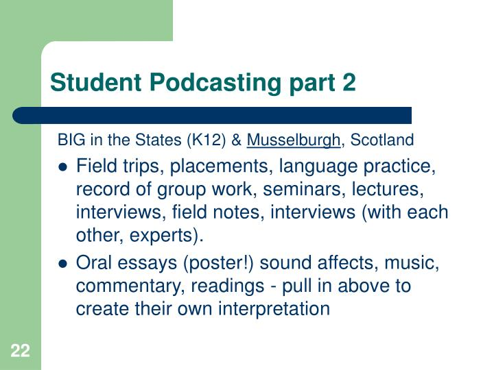 Student Podcasting part 2