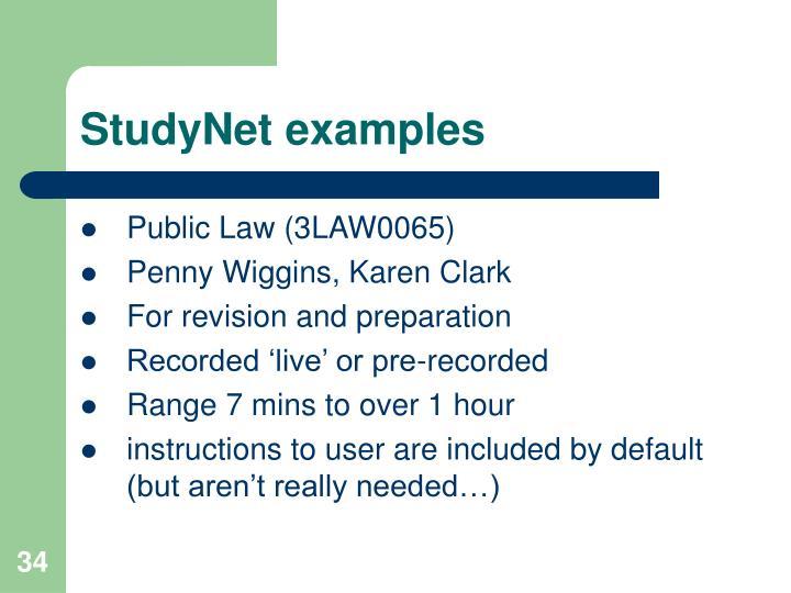 StudyNet examples