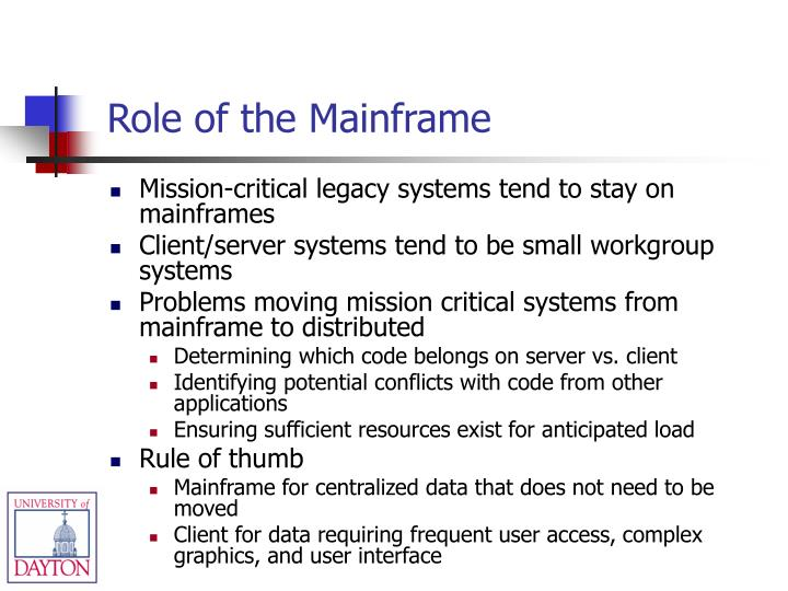 Role of the Mainframe