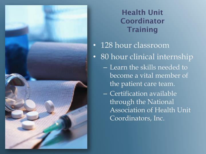 Health unit coordinator training
