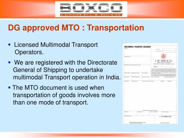 DG approved MTO : Transportation