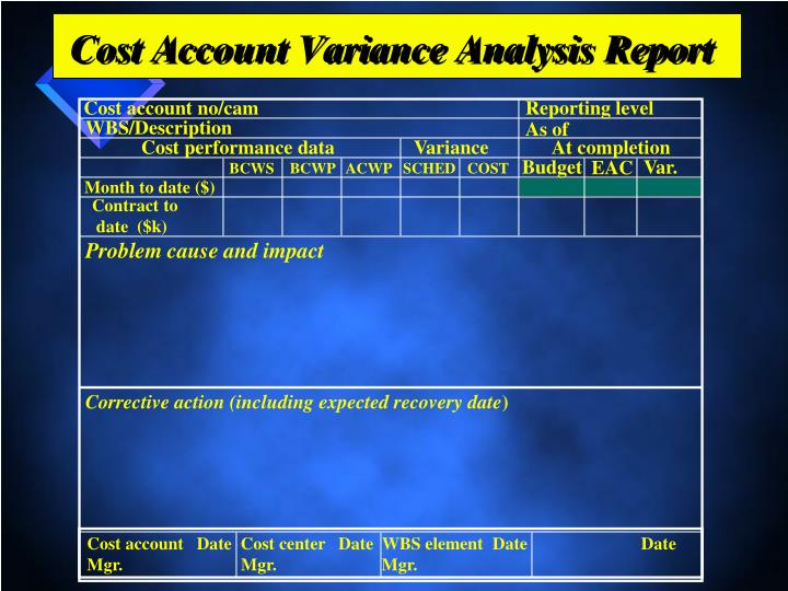 Cost Account Variance Analysis Report