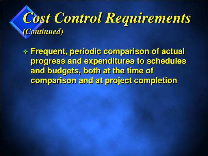 Cost Control Requirements