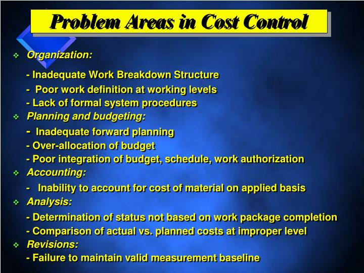Problem Areas in Cost Control