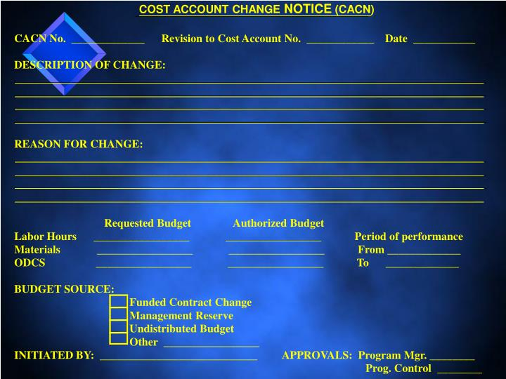 COST ACCOUNT CHANGE