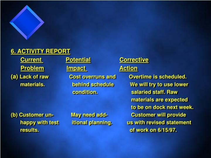 6. ACTIVITY REPORT