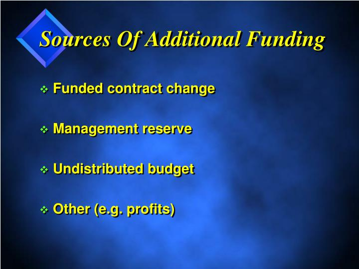 Sources Of Additional Funding