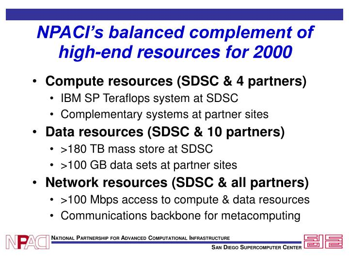 NPACI's balanced complement of