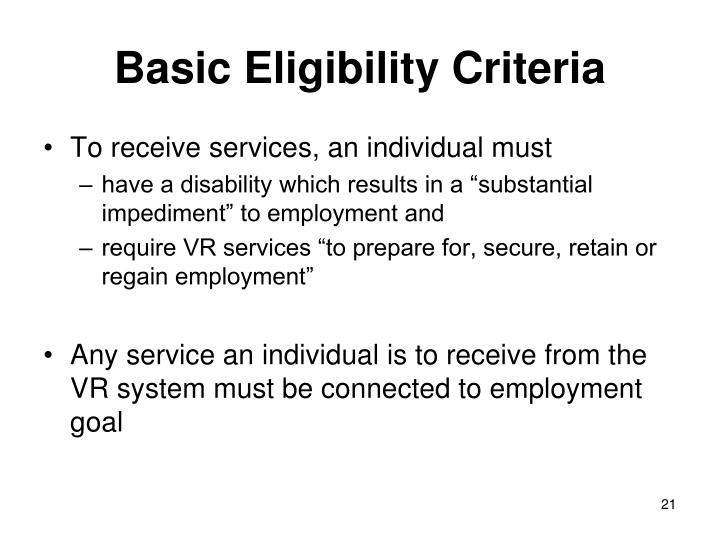 Basic Eligibility Criteria