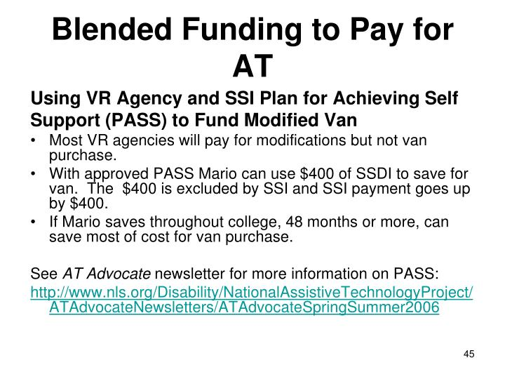 Blended Funding to Pay for AT