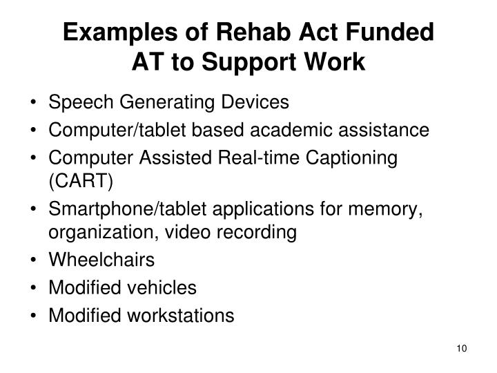 Examples of Rehab Act Funded