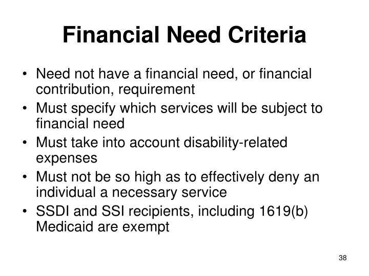 Financial Need Criteria
