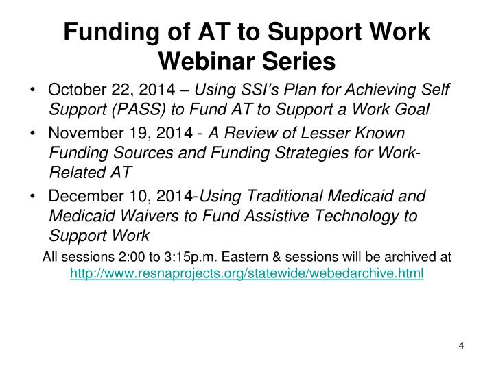 Funding of AT to Support Work Webinar Series