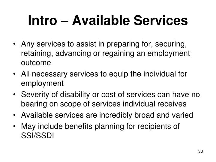Intro – Available Services