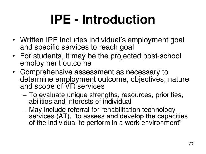 IPE - Introduction
