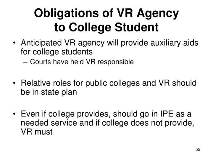 Obligations of VR Agency