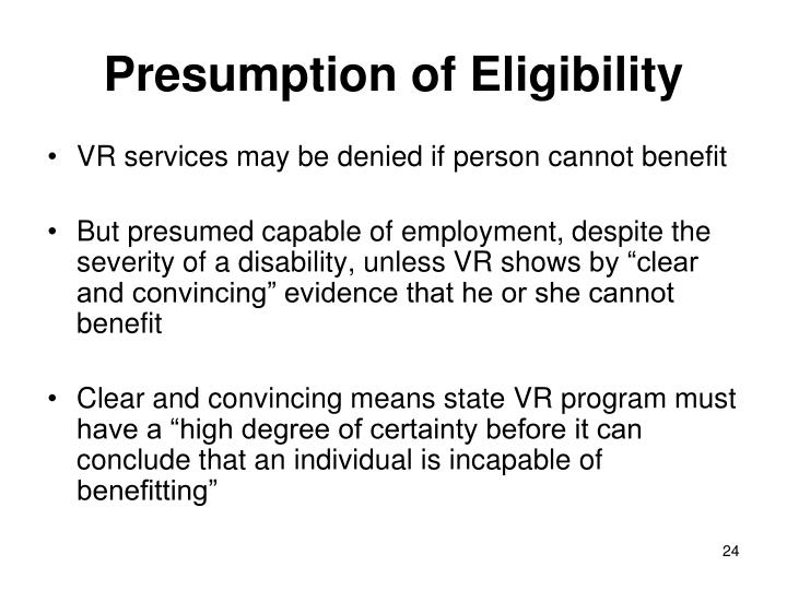 Presumption of Eligibility