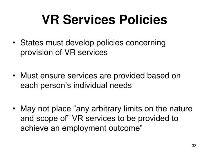 VR Services Policies