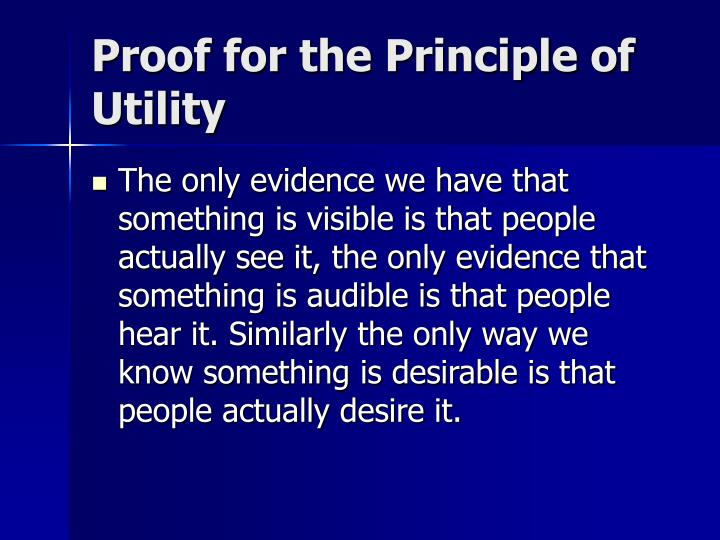 Proof for the Principle of Utility