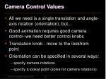 camera control values