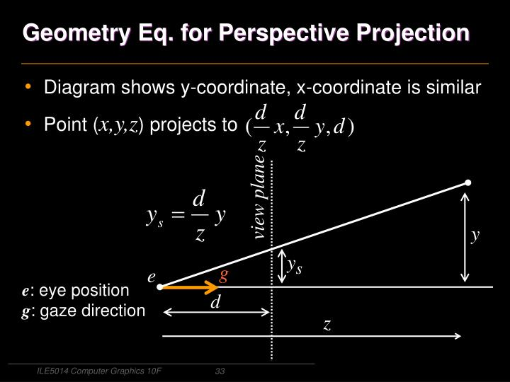 Geometry Eq. for Perspective Projection