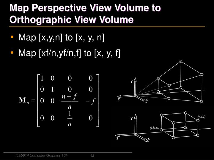 Map Perspective View Volume to Orthographic View Volume