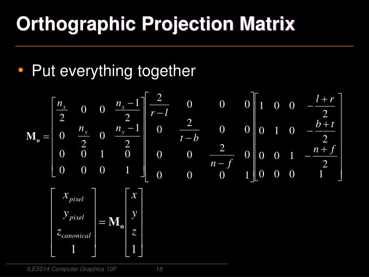 Orthographic Projection Matrix