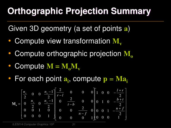Orthographic Projection Summary