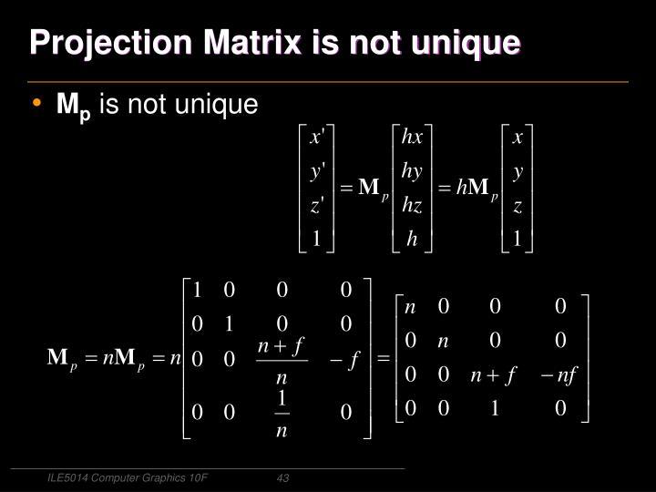 Projection Matrix is not unique
