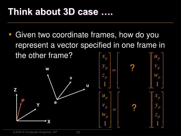 Think about 3D case ….
