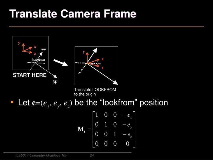 Translate Camera Frame