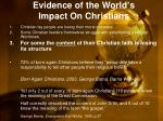evidence of the world s impact on christians1