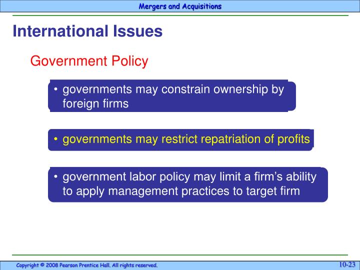 •	governments may constrain ownership by