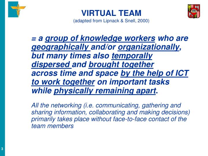 Virtual team adapted from lipnack snell 2000