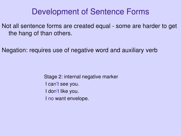 Development of Sentence Forms