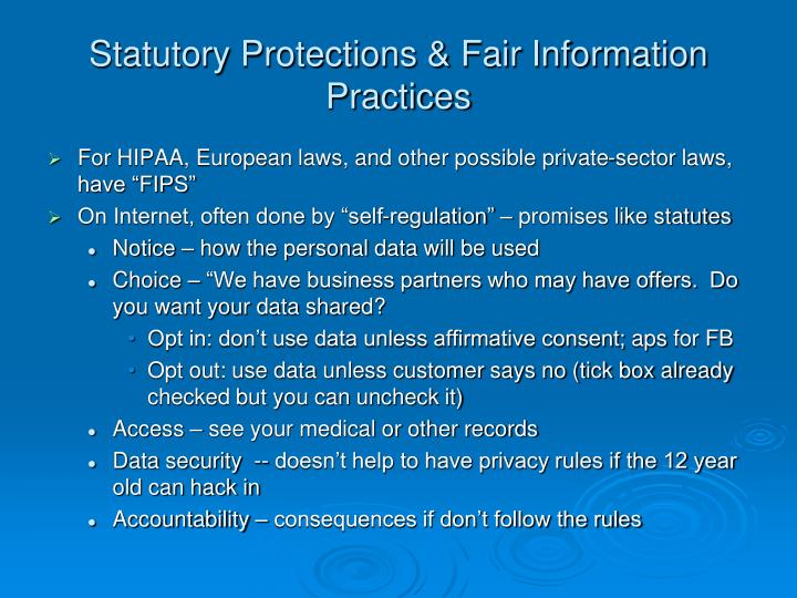 Statutory Protections & Fair Information Practices