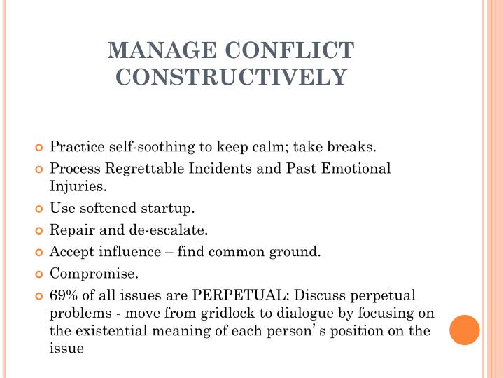 MANAGE CONFLICT CONSTRUCTIVELY