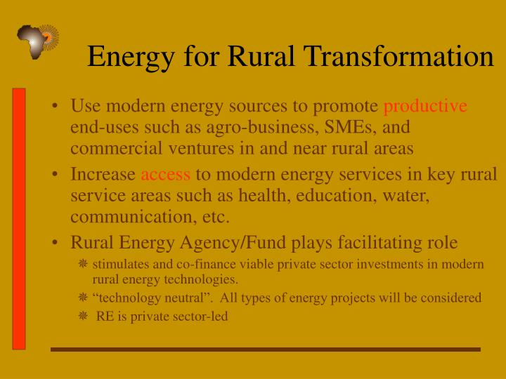 Energy for Rural Transformation