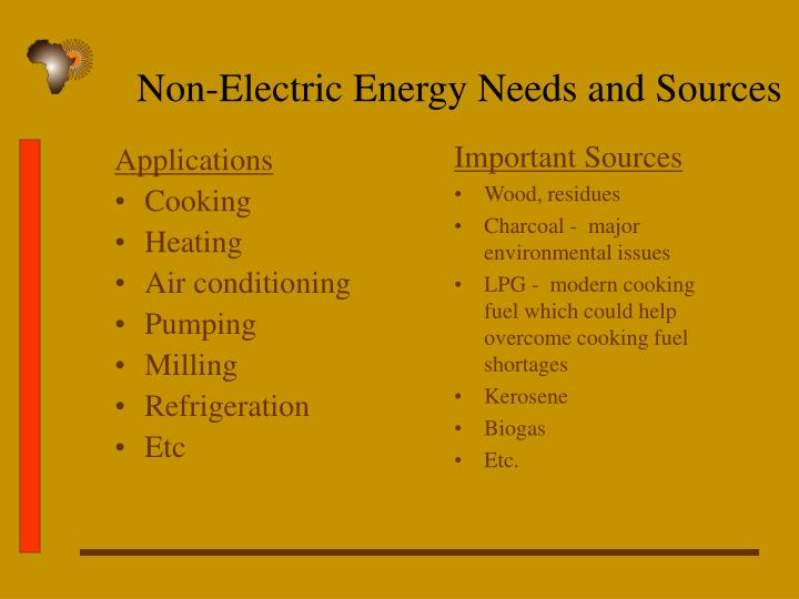 Non-Electric Energy Needs and Sources