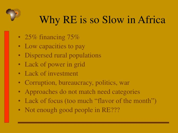 Why RE is so Slow in Africa