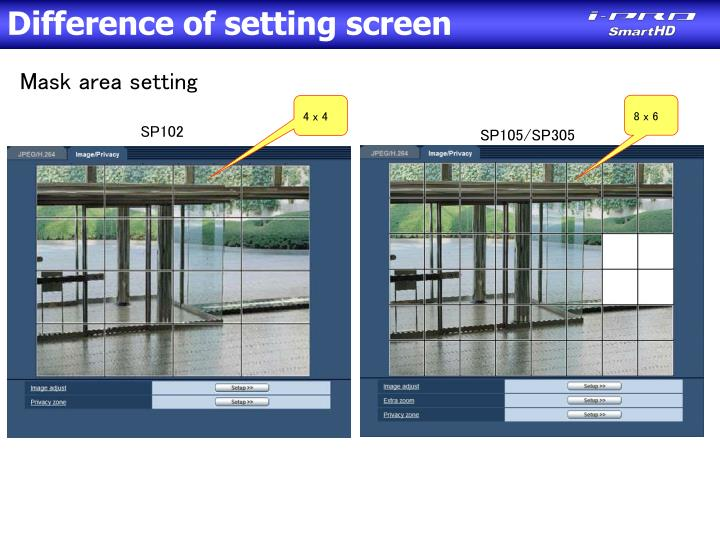 Difference of setting screen
