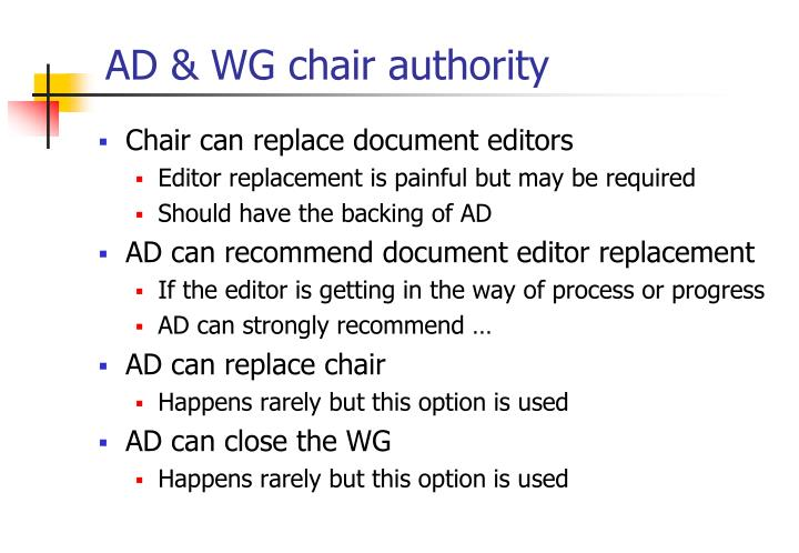 AD & WG chair authority