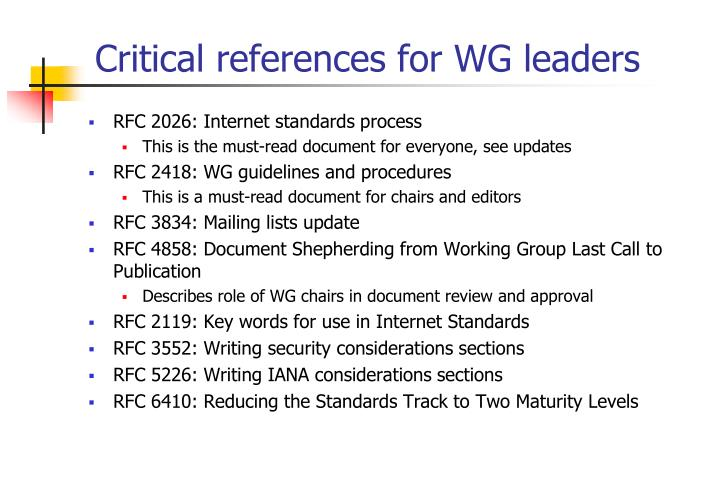 Critical references for WG leaders