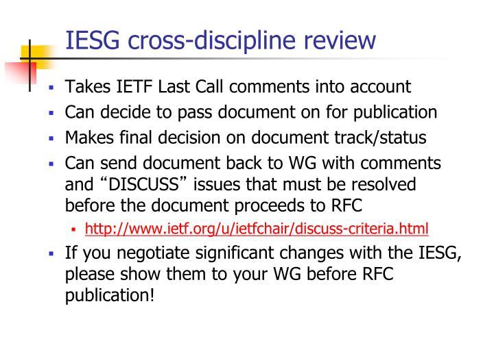 IESG cross-discipline review