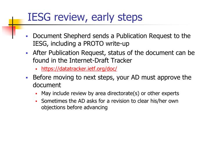 IESG review, early steps
