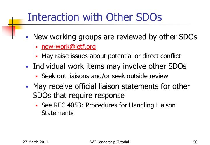 Interaction with Other SDOs