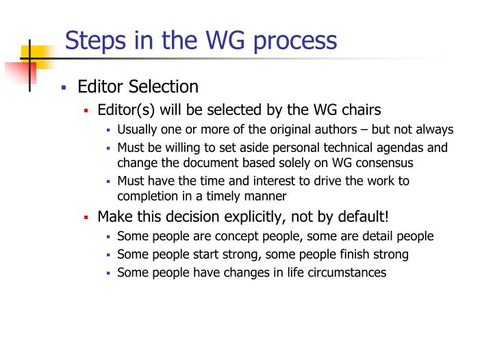 Steps in the WG process