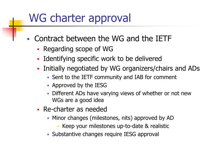 WG charter approval
