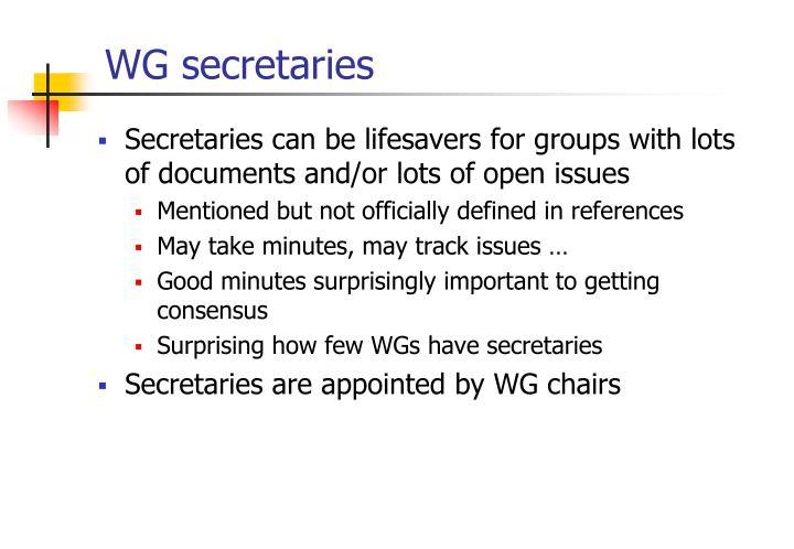 WG secretaries