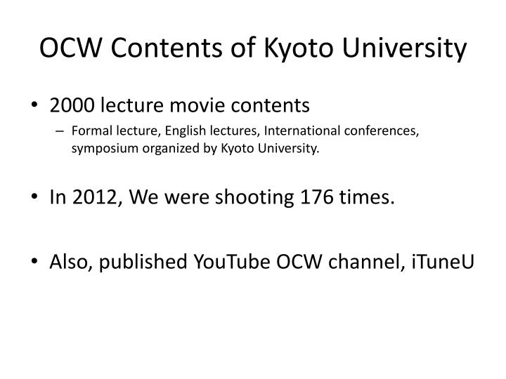 OCW Contents of